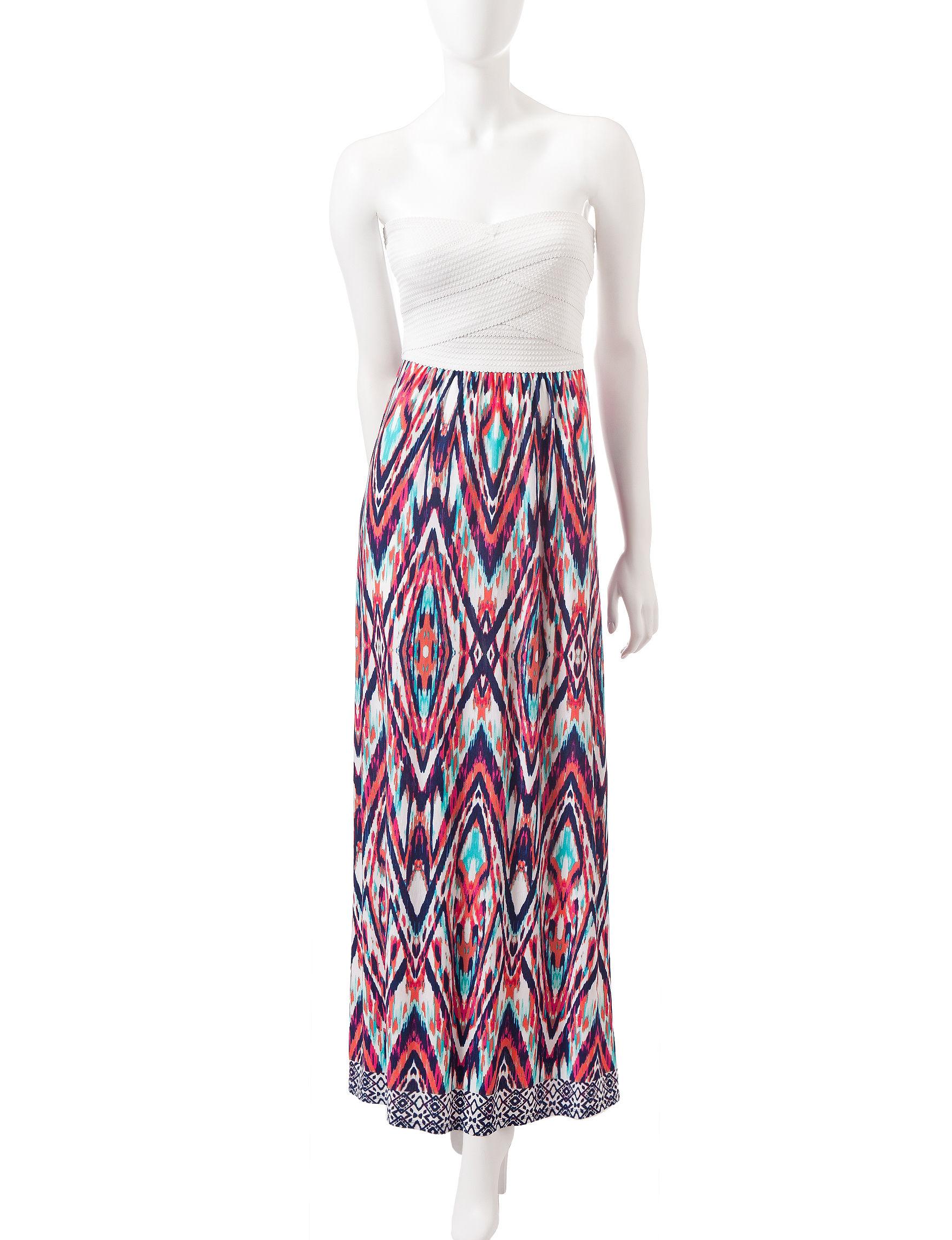 Trixxi Ivory/Navy Everyday & Casual Shift Dresses