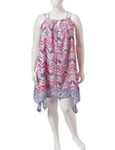 Trixxi Junior-Plus Double Strap Chevron Print Dress