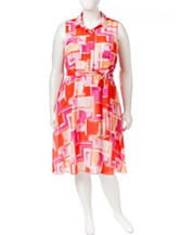 A. Byer Multicolor Abstract Print A-line Shirt Dress