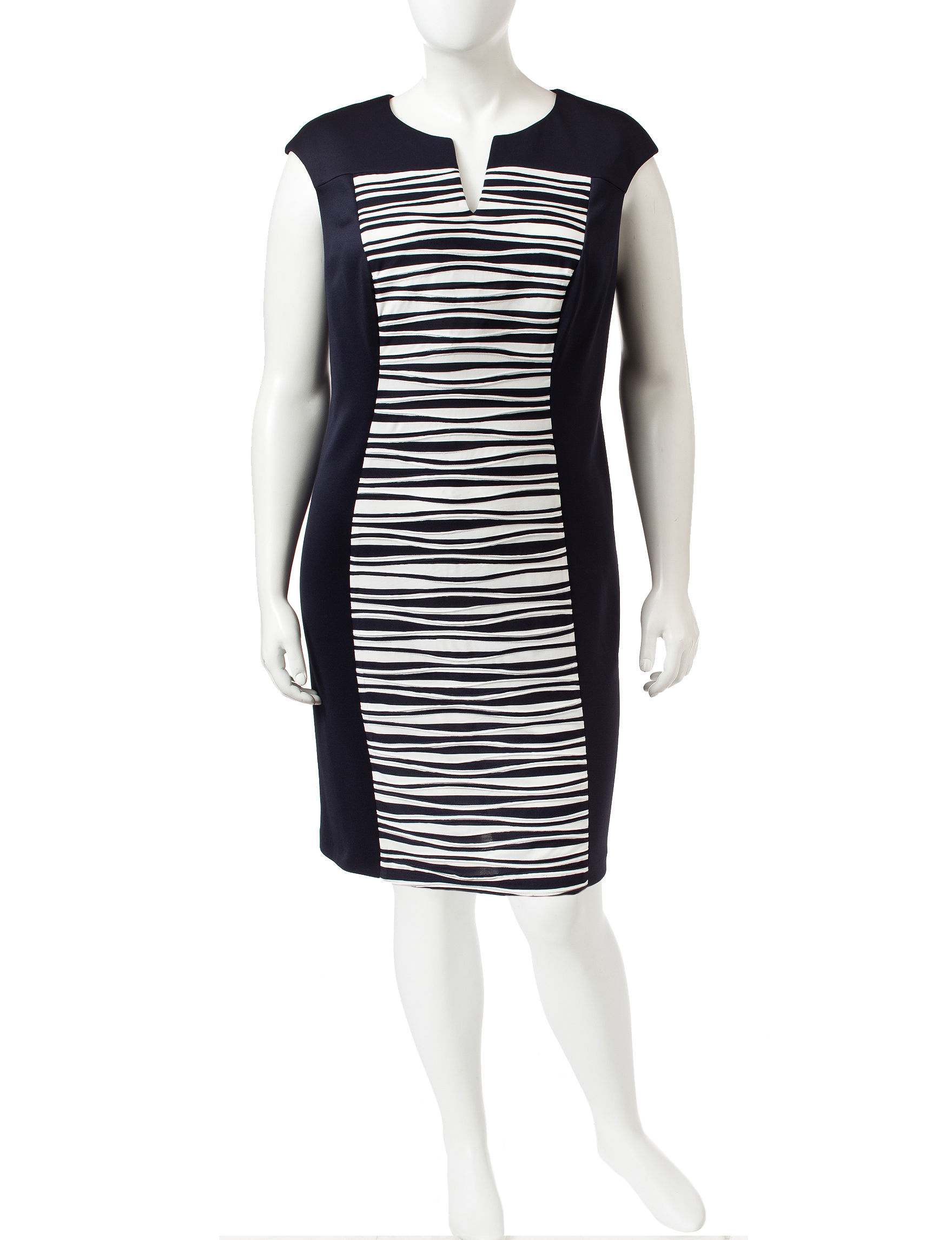 Connected Navy / White Sheath Dresses
