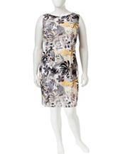 Connected Plus-size Multicolor Tropical Print Dress