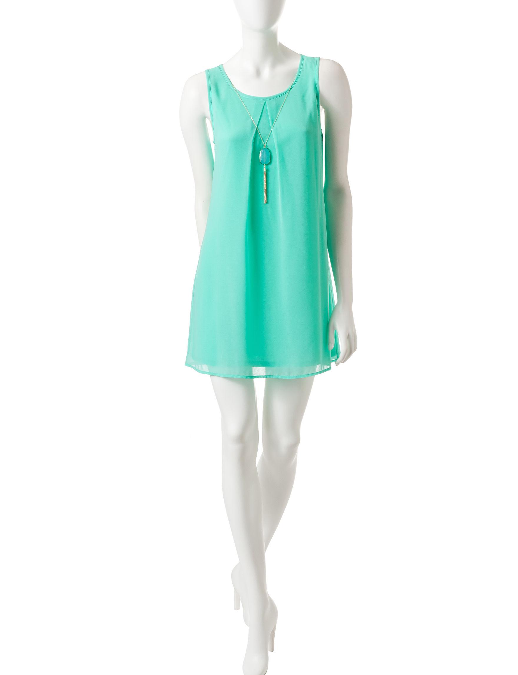 As U Wish Mint Shift Dresses