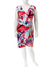 London Times Abstract Print Faux Wrap Dress