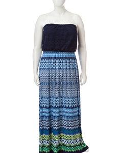 Trixxi Multicolor Ikat Print Maxi Dress