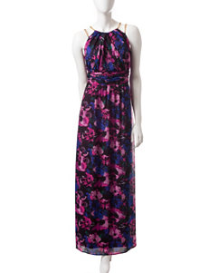 Sangria Multicolor Floral Print Maxi Dress