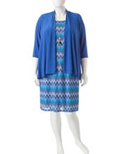 R & M Richards Plus-size 3-pc. Chevron Print Jacket & Dress Set