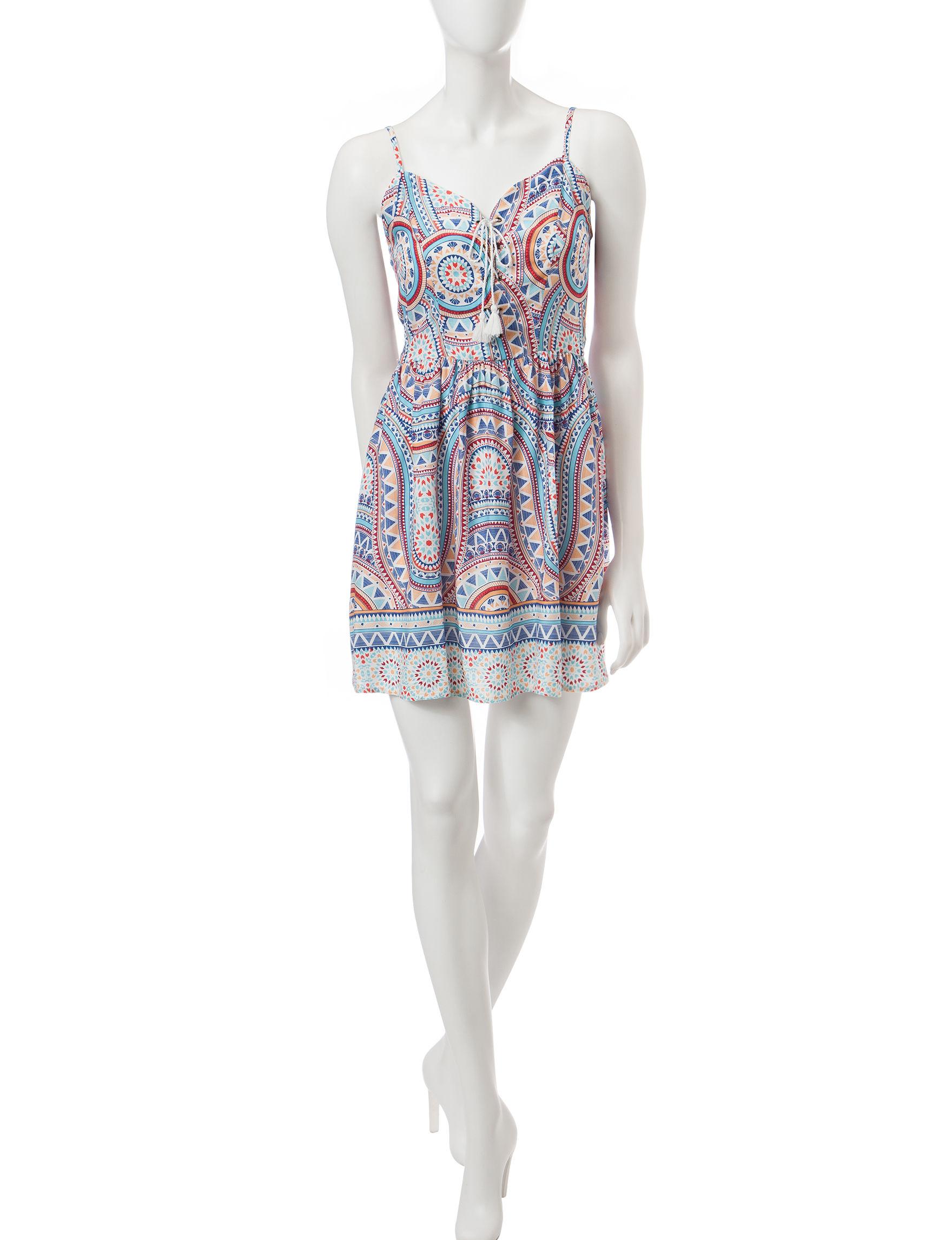 BeBop Aqua Fit & Flare Dresses