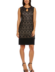 R & M Richards Black Medallion Lace Sheath Dress