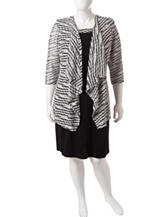 R & M Richards Plus Size 2-pc. Black And White Jacket And Dress
