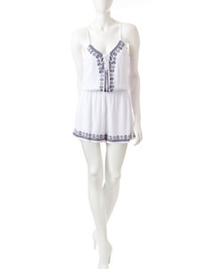 Trixxi White Embroidered Lace-Up Romper