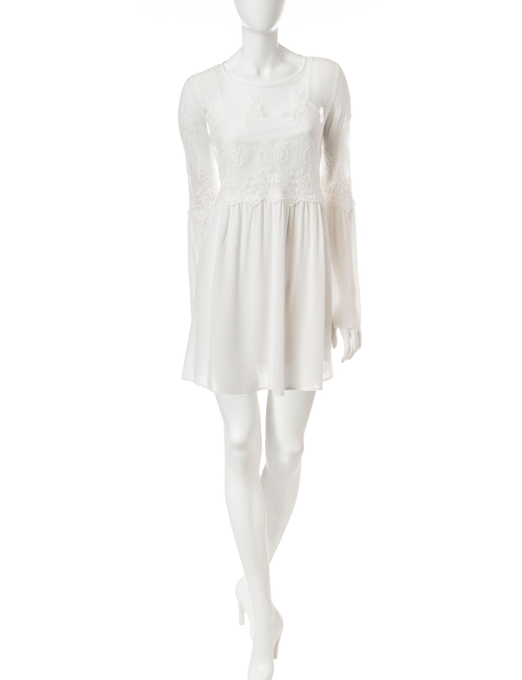 Trixxi Ivory Shift Dresses