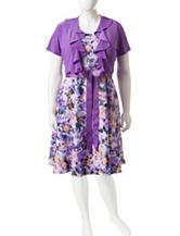 R & M Richards Plus Size 2-pc. Purple Jacket And Multicolor Floral Dress
