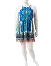 As U Wish Plus-size Multicolor Medallion Print Dress