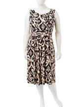 Perceptions Black & Tan Ikat Print Dress
