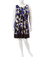 Perceptions Plus-size Pleated Floral Print Dress