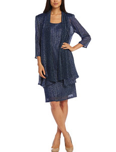 R & M Richards 2-pc. Navy Blue Crinkle Glitter Jacket & Dress
