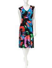 London Times Multicolor Floral Print Dress