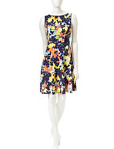London Times Multicolor Floral Print Fit & Flare Dress