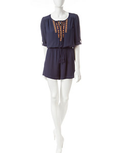 Signature Studio Navy Embroidered Romper