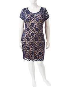 Almost Famous Juniors-plus Navy Lace Dress