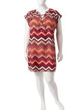 Almost Famous Junior-plus Chevron Print Shift Dress