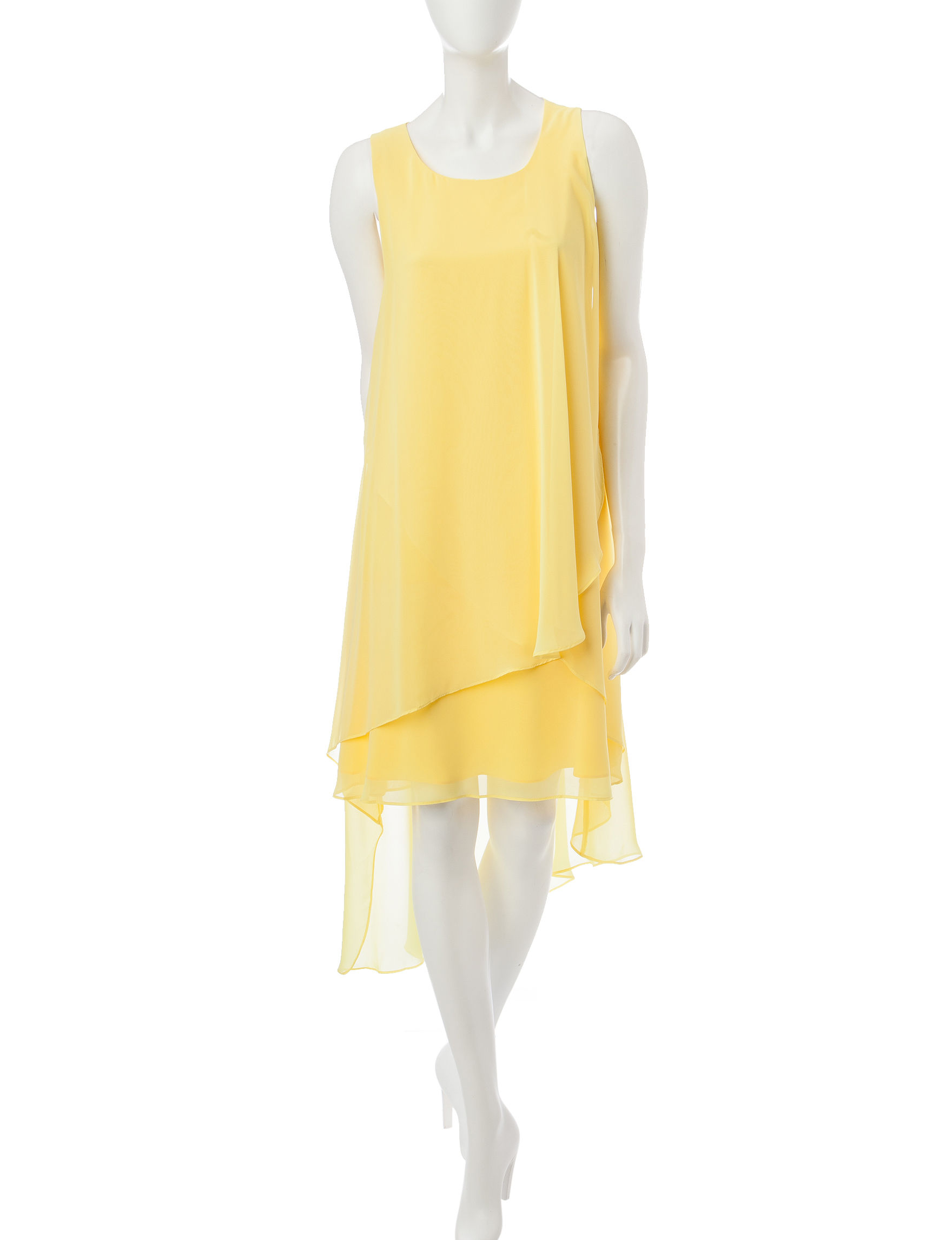 Sharagano Yellow Shirt Dresses