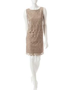 Ronni Nicole Taupe Sheath Dresses