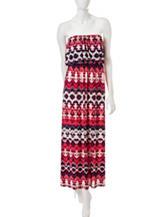 Trixxi Strapless Multicolor Aztec Print Maxi Dress