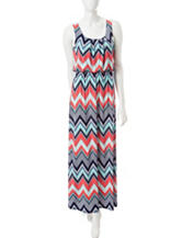 Trixxi Multicolor Chevron Print Maxi Dress