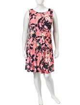 Connected Plus-size Multicolor Abstract Floral Print Dress