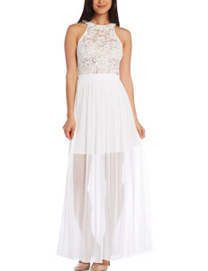 Morgan & Co. White Lace Overlay Floor-Length Dress