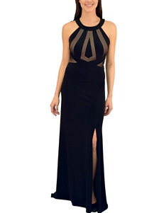 Morgan & Co. Black Open Back Illusion Mesh Gown