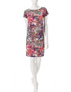 London Times 100-White Everyday & Casual Scuba Dresses