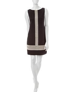 London Times Black / Ivory Shift Dresses