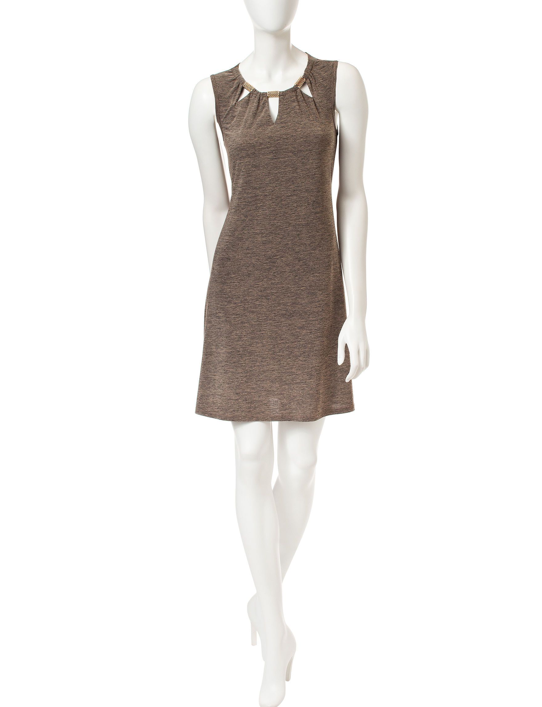 A. Byer Taupe A-line Dresses