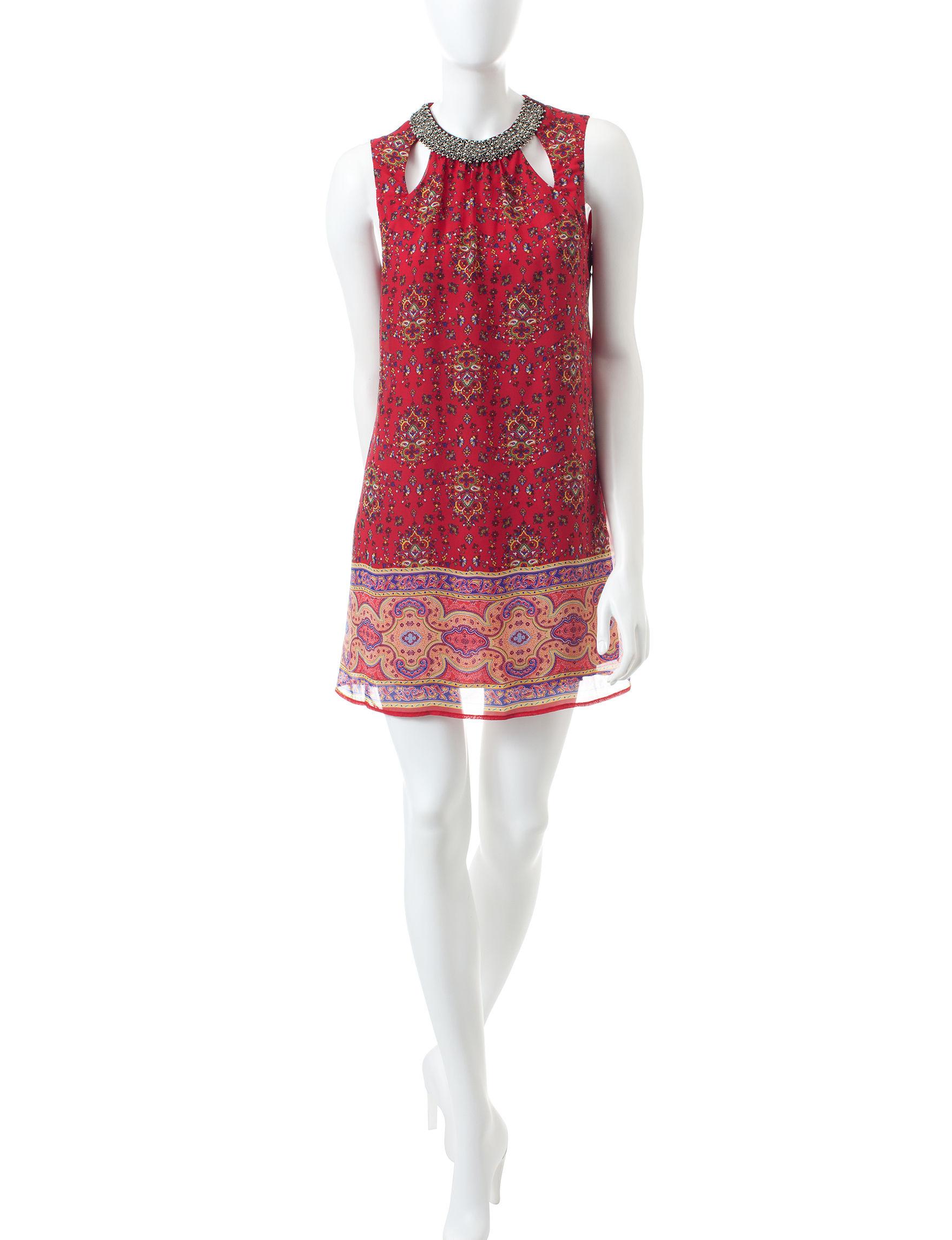 Speechless Red / Navy Shift Dresses