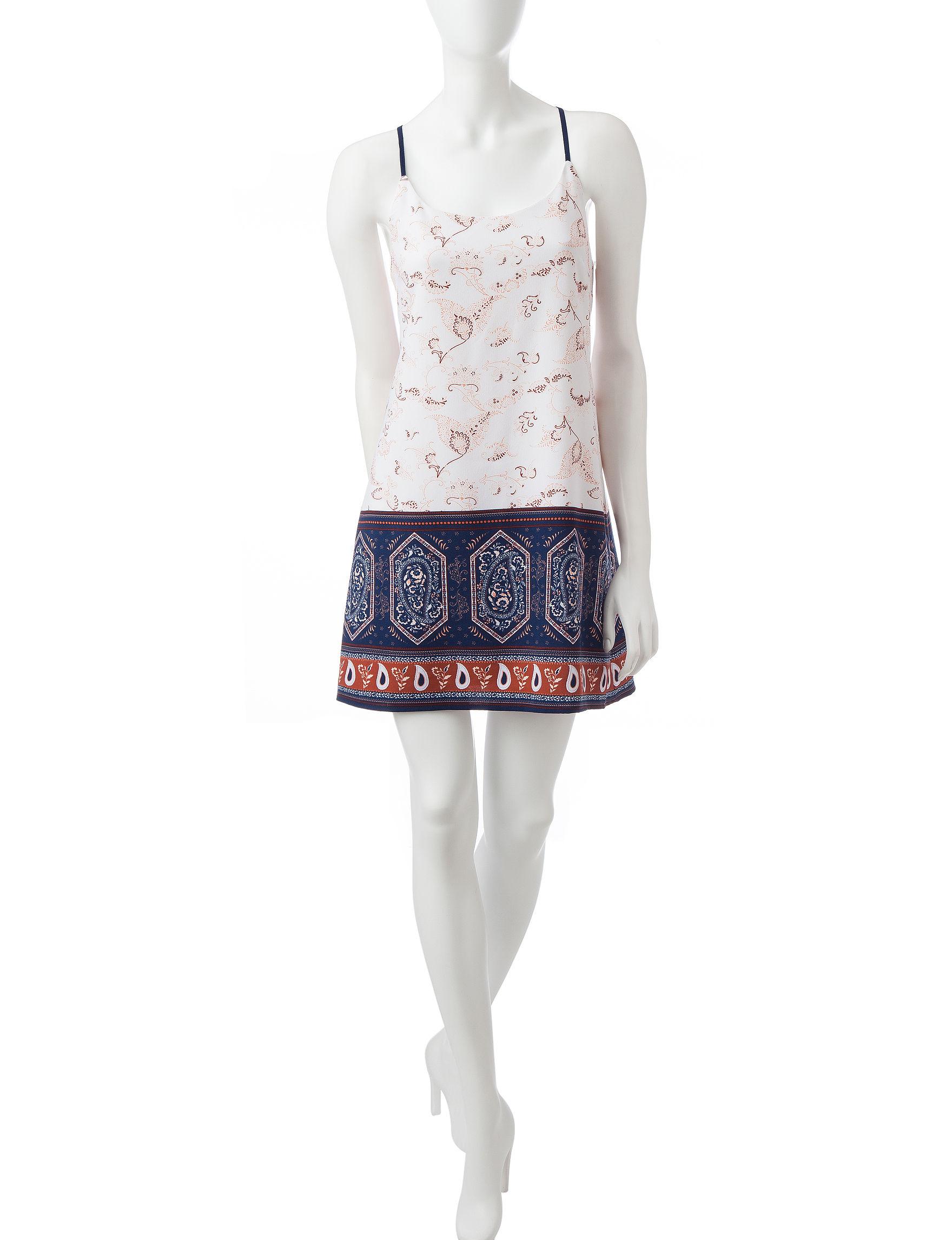 Trixxi Ivory/Navy Shift Dresses