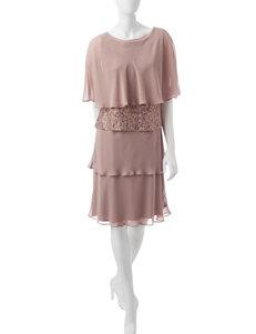 S.L. Fashions Pink Jacket Dresses