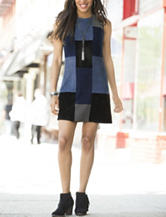 Spense Faux Suede Patchwork Shift Dress