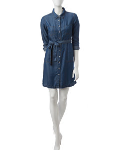 Spense Blue Shirt Dresses