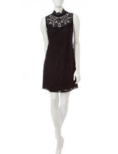 Ronni Nicole Black Illusion Lace Dress