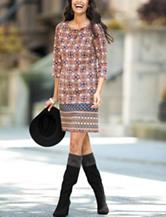 London Times Mixed Print Dress