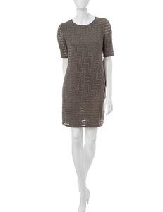 London Times Charcoal Shift Dresses