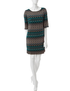 Perceptions Teal / Black Evening & Formal Shift Dresses