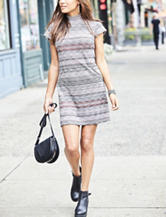 Madison Leigh Striped Zipper Knit Dress