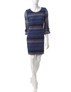 Madison Leigh Navy / Multi Cocktail & Party Everyday & Casual Shift Dresses