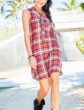 BeBop Plaid Print Tie Neck Dress