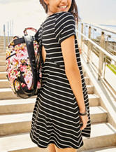 Fire Black & White Striped Lace-Up Dress