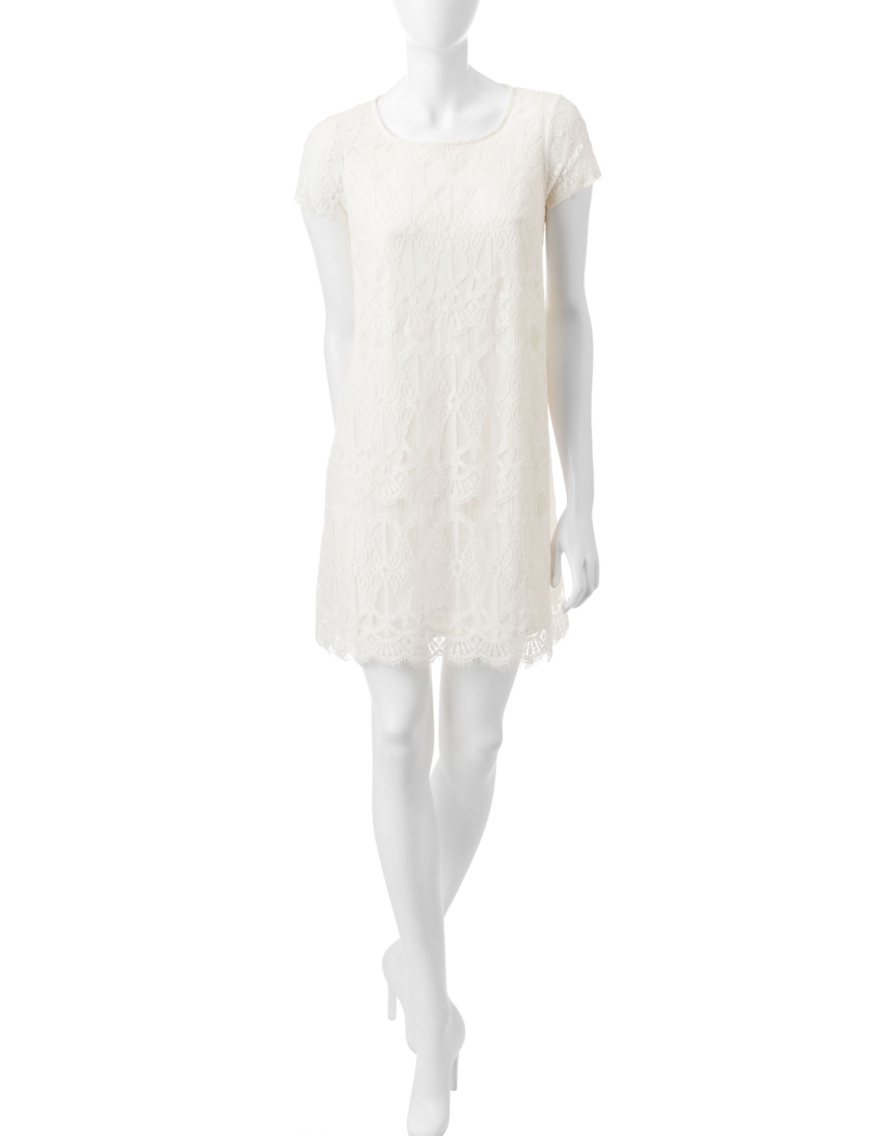 Fire White Shift Dresses