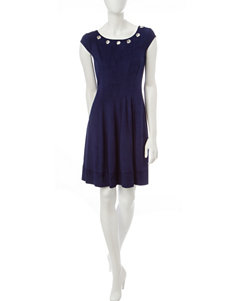 Robbie Bee Navy Fit & Flare Dresses